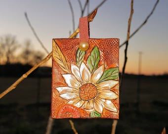 Hand Tooled Flower and Wheat Pendant