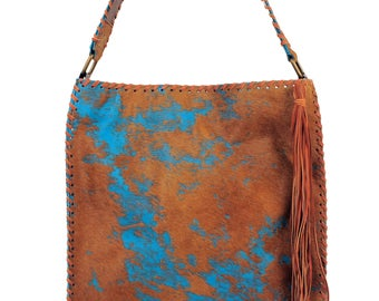 "Leather . Acid washed Hair-on-cow handbag. Handmade USA 15"" X 17"""