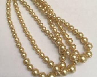 Vintage Triple Strand Pearl Bracelet Circa 1940s