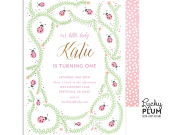 Ladybug Birthday Invitation /  First Birthday Invitation / Lovebug Birthday Invitation / Ladybird Birthday Invitation / Woodland Girls Pink