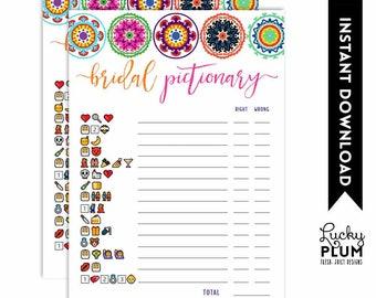 Fiesta Bridal Pictionary / Fiesta Bridal Emoji Game / Mexican Bridal Pictionary / Bridal Games / Couples Engagement / DIY Printable FT01