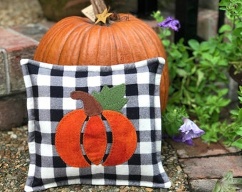 kit; fun plaid pumpkin pillow, wool and cotton
