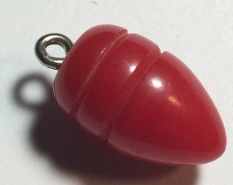 RESERVED for...... Muldy     Vintage Red Bakelite Bullet or Toggle Button or Charm (last ones)