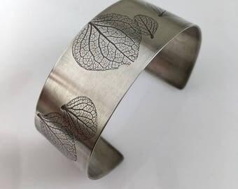 Hydrangea Jewelry, Sterling Silver Cuff Bracelet, Botanical Silver Jewelry
