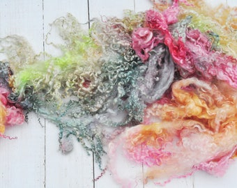 Hand Dyed Wensleydale Lamb Wool Locks - Cotted Boa - Fairy Garden - 4.4 ounces