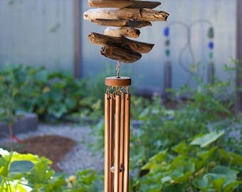 Outdoor Wind Chime Natural Driftwood Large Copper Chimes Windchimes