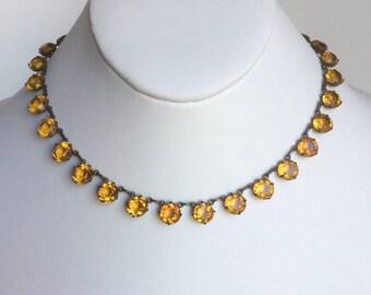 Orange Crystal Necklace - Warm Amber Orange Topaz Faceted Glass Stones - Vintage 20s Art Deco Rivière Necklace - Antique Brass Collets