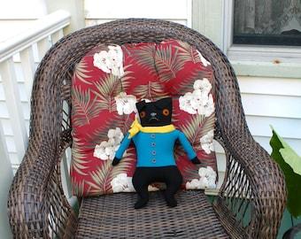 Black Boy Pug in an Aqua Jacket doll plush wool dog