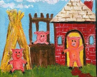 3 Little Pigs mini canvas art, Original, pigs, miniature acrylic painting, easel, pig art decor
