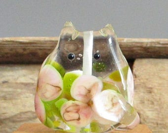 Handmade Cat Bead Floral Lampwork Focal - Eleanor FatCat