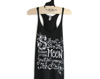 SALE Large -Tri-Blend Black Racerback Tank with Shoot for the Moon Screen Print