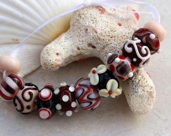 Elizabeth Creations AUTUMN WIND artisan lampwork handmade glass beads Sra