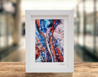 Blue, Red, Orange Modern Print on Metal, Framed Abstract Accent, Contemporary Desk Decor, Metal Wall Art, Office Decor by Jon Allen - H