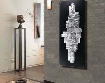 Large Black U0026 Silver Geometric Modern Metal Wall Art Sculpture,  Contemporary Abstract Metal Wall Hanging