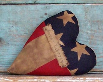 Heart Pillow, American Flag, Patriotic Farmhouse Style, Americana Farmhouse Decor, Primitive, Rustic Pillow - SWEET LIBERTY - Ready to Ship