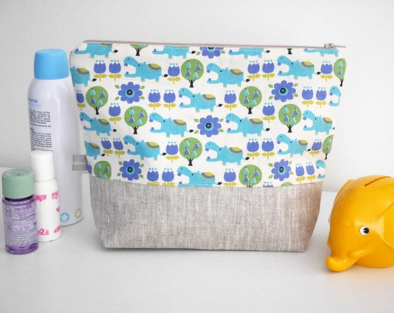 Toiletry pouch - zipper - hippos - hippopotamus - blue - green - animals - waterproof lining - toiletry - beauty pouch - cosmetic pouch