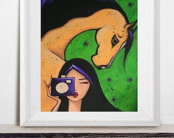 Photographer Lover Gift, Horse Art Print, Colorful Wall Art, Farmhouse Decor, Vintage Artwork, Camera Illustration, Equine Giclee, Shano