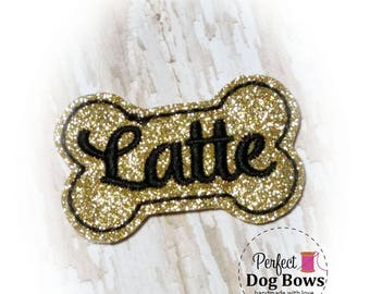 Bone Dog Bow, Gold Glitter Dog Bone Bow, Personalized Dog Bow, Bone Dog Hair Bow