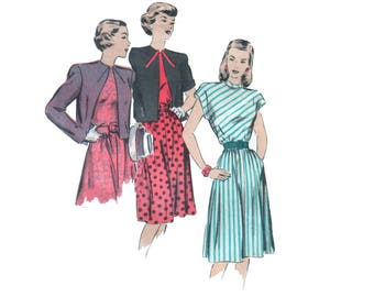 40s uncut Fit and Flare Dress pattern One Piece Dress pattern vintage 30-25.5-33 Yoke Dress pattern Hollywood 1842