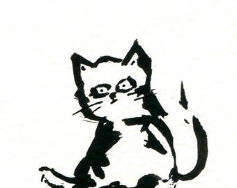Original Black Cat Gouache Painting ACEO number 169