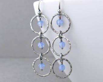 Light Blue Earrings Blue Crystal Earrings Silver Circle Earrings Silver Drop Earrings Long Beaded Earrings Modern Jewelry - Adorned Aria