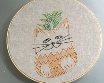 Pineapplekitty - hand drawn and embroidered pineapple cat wall hanging