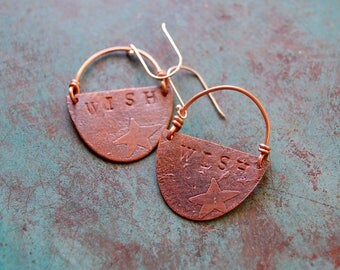 Wish / Etched Copper Earrings