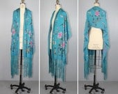 antique fringe piano shawl / embroidered / floral / flapper / 1920s / turquoise