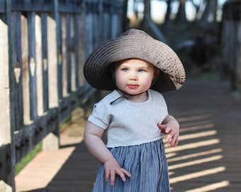 Brown Linen Wide Brim Sun Hat for Babies and Kids,  Linen Cotton Blend Baby Sun Hat, Blue Corduroy Baby Hats