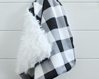 Lovey Blanket black white buffalo check faux fur minky READY TO SHIP baby gift cloud blanket llama newborn gift plush photo toddler child
