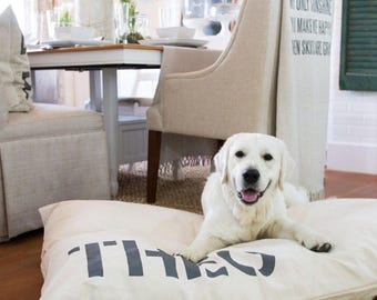 Canvas Dog Bed Cover, Custom Pet Bed Cover, Dog Bed Duvet Cover, Small to XL Covers for Dog Beds
