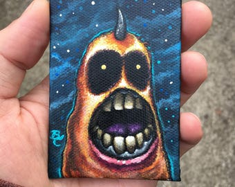 Fuzzy Monster 7 Original ACEO Painting