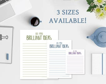 All My Brilliant Ideas Notepad - 3 Sizes Available - Free US Shipping - Funny Notepad - 50 Colors - To Do List Notepad - To Do Note Pad