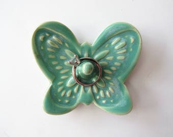 Butterfly Ring Dish in Shimmery Mint Green