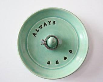 Keepsake Ring Dish, Always,  Wheel Thrown, Clay Pottery, In Stock