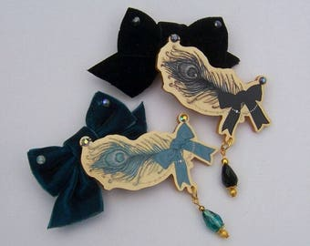 Gold JEWEL FEATHER Bow Hair Clip