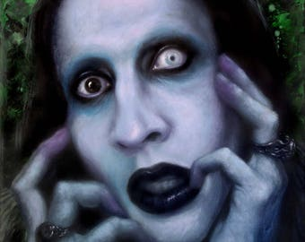 "ORIGINAL Marilyn Manson painting, 12x16"", oil on canvas"