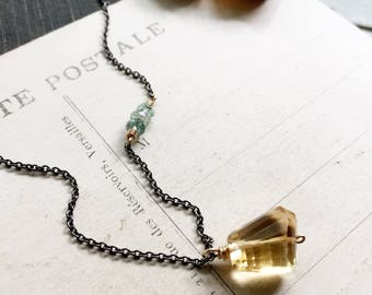 A w a k e...Citrine nugget necklace, Tourmaline, boho, November Birthstone, Aries, crown chakra, healing, Energy, Etsy Gifts FREE SHIPPING
