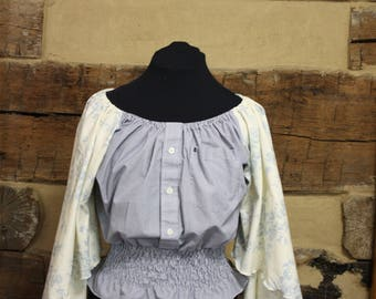Country Chic Top Womens Boho Hippe Clothes Bohemian Style Shirred Upcycled Shirt Peasant Blouse Retro Festival Wear Large / XL