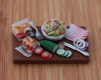 Ham Sandwiches - 1:12 Scale Dollhouse Miniature Preparation Board