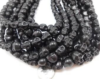 20 Small Black Howlite Skull Beads 10MM (H7099)