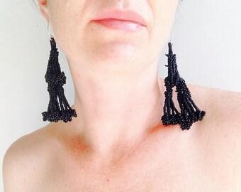 Vintage Kuchi Beaded Tassel Jumkha Tribal Earrings.