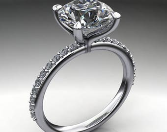 Private Listing for Cam - shay ring - 2.2 carat diamond cut round NEO moissanite engagement ring, colorless moissanite