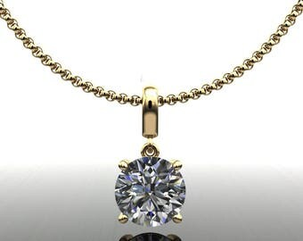 shiya pendant - 1 carat NEO moissanite necklace, 1 carat stud necklace