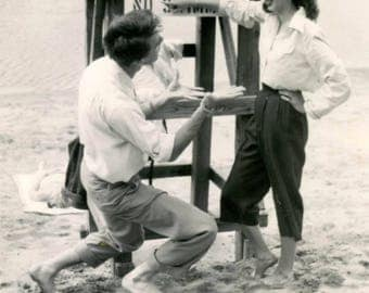 vintage photo 1944 Man Pleads Girlfriend She uses Sign Language Positively No