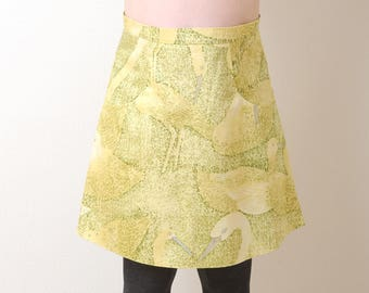 Yellow A-line skirt, Yellow and green womens skirt with duck print and front pockets, Womens skirts, Womens clothing, MALAM