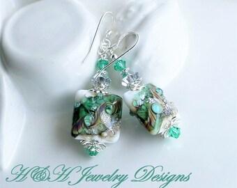 Green Lampwork Earrings, Silver Earrings, Green White Silver Glass Dangle Earrings, Statement Earrings, Holiday Jewelry, White Glass Earring