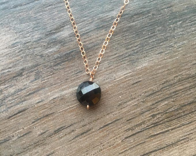 Faceted Black Spinel Coin on Rose Gold Chain Littles Necklace  Delicate Gift Special