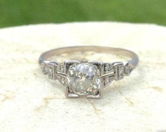 Art Deco Diamond Engagement Ring, Cushion Shaped Old Cut Diamond, Beautiful Shoulder Design, app .69 to .75 ctw, Platinum, Circa 1930s