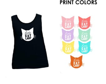 Little Cat Lady Kids Toddler Tank Top - Meow, Cat Lady in Training, Mini Me, Kitty Club, Cat Kid, Favotire Animal, Mommy and Me, Little Girl